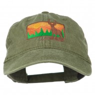 Deer Hunting Silhouette Embroidered Washed Cotton Cap - Olive Green