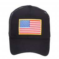 Gold American Flag Patched Mesh Cap - Black