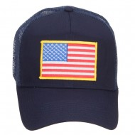 Gold American Flag Patched Mesh Cap - Navy