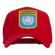 United Nations Flag Shield Patched Cap - Red