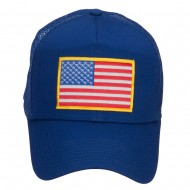 Gold American Flag Patched Mesh Cap - Royal