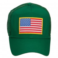 Gold American Flag Patched Mesh Cap - Kelly