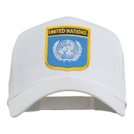 United Nations Flag Shield Patched Cap - White