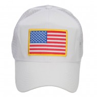 Gold American Flag Patched Mesh Cap - White