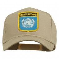 United Nations Flag Shield Patched Cap - Khaki