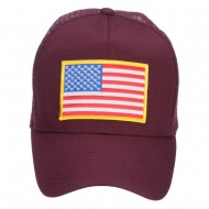 Gold American Flag Patched Mesh Cap - Maroon
