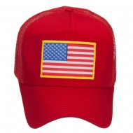 Gold American Flag Patched Mesh Cap - Red
