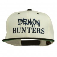 Halloween Demon Hunters Embroidered Snapback Cap - Natural Black