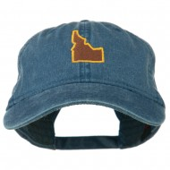 Idaho State Map Embroidered Washed Cotton Cap - Navy