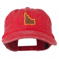 Idaho State Map Embroidered Washed Cotton Cap - Red