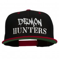 Halloween Demon Hunters Embroidered Snapback Cap - Black Red