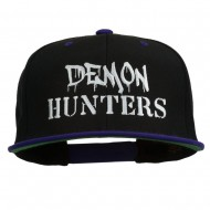 Halloween Demon Hunters Embroidered Snapback Cap - Black Purple
