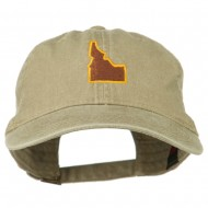 Idaho State Map Embroidered Washed Cotton Cap - Khaki