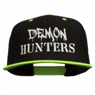 Halloween Demon Hunters Embroidered Snapback Cap - Neon Yellow