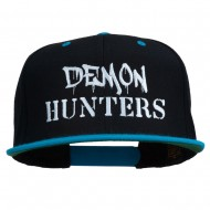 Halloween Demon Hunters Embroidered Snapback Cap - Black Teal