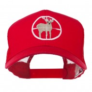 Deer Hunting Embroidered Mesh Back Cap - Red