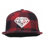 Diamond Outline Embroidered Plaid Flat Bill Cap - Red