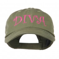 Wording of Diva Embroidered Cap - Olive