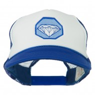 Diamond Jewelry Embroidered Foam Mesh Back Cap - Royal White