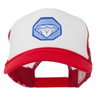 Diamond Jewelry Embroidered Foam Mesh Back Cap - Red White Royal