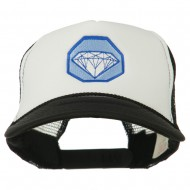 Diamond Jewelry Embroidered Foam Mesh Back Cap - Black White