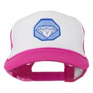 Diamond Jewelry Embroidered Foam Mesh Back Cap - Hot Pink White