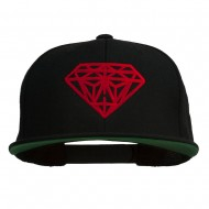 Big Diamond Outline Embroidered Flat Bill Black Cap - Red