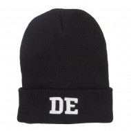 DE Delaware State Embroidered Long Beanie - Black