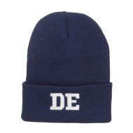DE Delaware State Embroidered Long Beanie - Navy