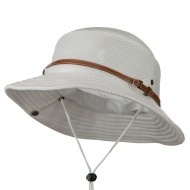 Big Size Deluxe Mesh Bucket Hat - White