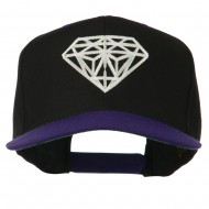 Diamond Outline Embroidered Two Tone Cap - Black Purple