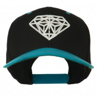 Diamond Outline Embroidered Two Tone Cap - Black Teal