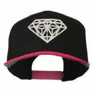 Diamond Outline Embroidered Two Tone Cap - Black Pink