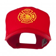 Fire Dept Maltese Cross Embroidered Cap - Red