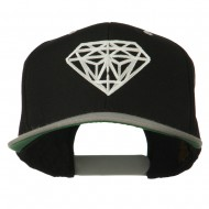 Diamond Outline Embroidered Two Tone Cap - Black Silver