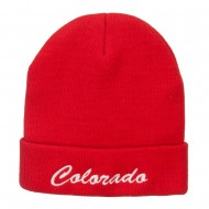 Colorado Western State Embroidered Long Beanie - Red