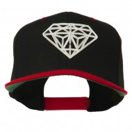 Diamond Outline Embroidered Two Tone Cap - Black Red