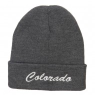 Colorado Western State Embroidered Long Beanie - Grey