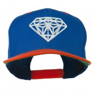 Diamond Outline Embroidered Two Tone Cap - Royal Orange