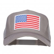 White American Flag Patched Mesh Cap - Grey