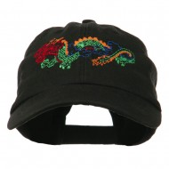 Outlined Dragon Embroidered Washed Cap - Black