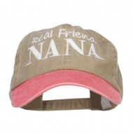 Real Friend Nana Embroidered Washed Cap - Khaki Red