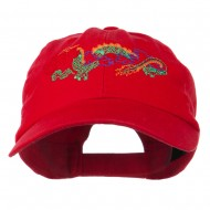 Outlined Dragon Embroidered Washed Cap - Red