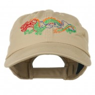 Outlined Dragon Embroidered Washed Cap - Khaki