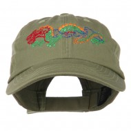 Outlined Dragon Embroidered Washed Cap - Olive