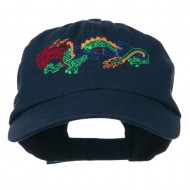 Outlined Dragon Embroidered Washed Cap - Navy