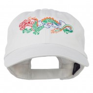 Outlined Dragon Embroidered Washed Cap - White