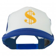 Dollar Sign Logo Embroidered Foam Mesh Back Cap - Royal White