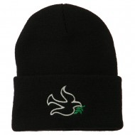 Dove Symbol Embroidered Long Beanie - Black
