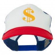 Dollar Sign Logo Embroidered Foam Mesh Back Cap - Red White Royal
